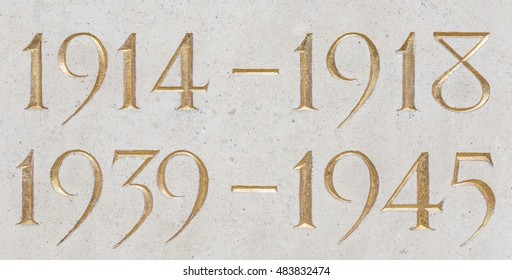 Golden inscription of the years of the two world wars: 1914-1918, 1939-1945