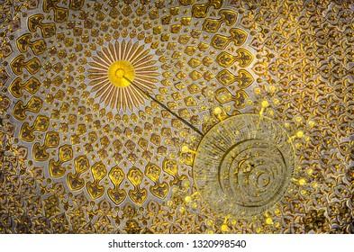 Golden Islamic mosaic  pattern in the Samarkand