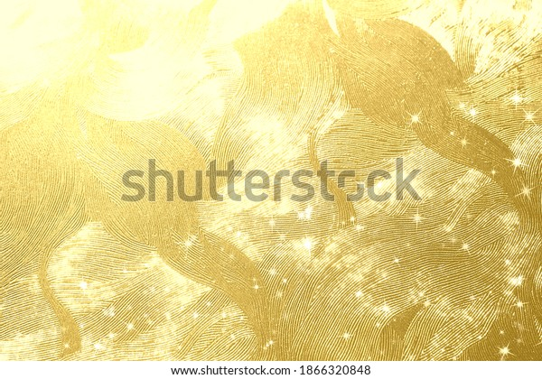 Golden Japanese paper and light background material