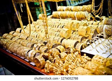 Golden jewellery in Dubai Gold Market, United Arab Emirates