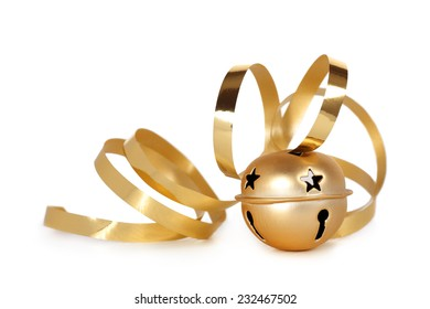 Golden jingle bell with curled ribbon