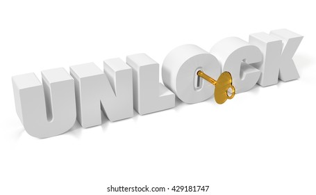 """Golden key to unlock the future """"unlock"""" with keyhole and key isolated on white for presentation. 3D illustration."""