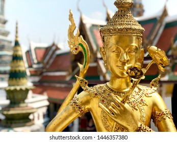 Golden Kinnari statue at Grand Palace in Bangkok. In hinduism Kannari is half human and half bird, which are believed to come from the Himalayas.