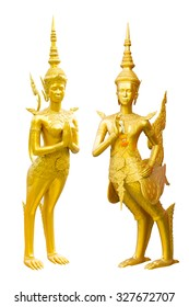 Golden Kinnari statue half-bird, half-woman creature at south-east Asian Buddhist mythology welcome pose,Thailand concept isolated on white background with clipping path