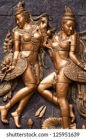 A Golden Kinnari statue Phuket Thailand