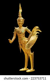 Golden Kinnari statue at temple,Wat Phra Kaew in Grand Palace, Bangkok Thailand.