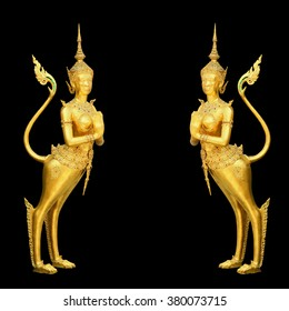 Golden Kinnari statue at temple,Wat Phra Kaew in Grand Palace, Bangkok Thailand. Isolated on black background