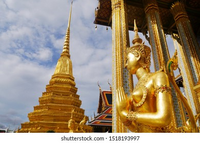 The golden Kinnati or Apsarasi statue at Wat Phra Kaew or the temple of the Emerald Buddha located within the grounds of the Grand Palace in Bangkok,Thailand