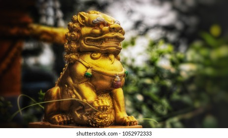 Golden kirin or Qilin statue | Holy thing of asia and thailand