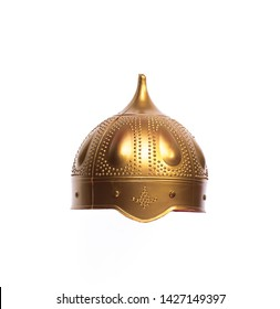 golden knight helmet isolated on white background