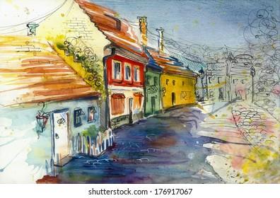 Golden Lane in Prague watercolor painting illustration poster textile print pattern wallpaper