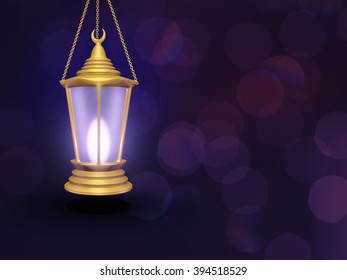 golden lantern on a purple background