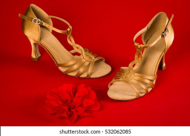 Golden latin dance shoes are on red background.