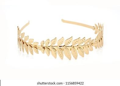 golden laurel wreath headband isolated on white