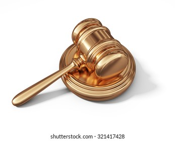 Golden law gavel. Legal concept. 3D isolated on white background