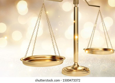 Golden Law Scales on abstract bokeh background