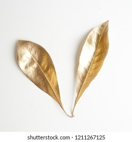golden leaf design elements. Decoration elements for invitation, wedding cards, valentines day, greeting cards. Christmas decor Isolated on white background.