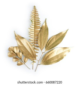 golden leaf design elements. Decoration elements for invitation, wedding cards, valentines day, greeting cards. Isolated on white background.