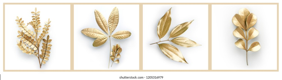 golden leaf isolated