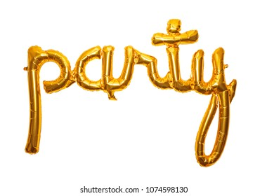 Golden letter foil balloon spelling the word party