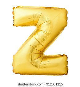 Golden letter Z made of inflatable balloon isolated on white background. One of full alphabet set - Shutterstock ID 312051215