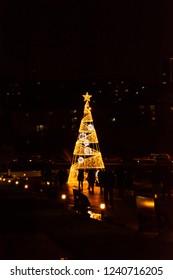 Golden Light Christmas Tree