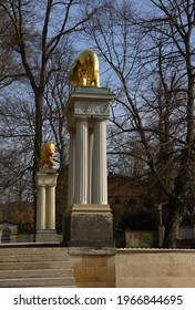 Golden Lion Statue in Castle and Park Glienicke in Spring, Wannsee, Zehlendorf, Berlin