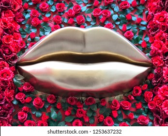 golden lips on red roses