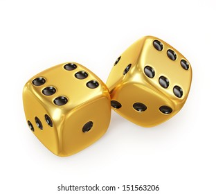 golden lucky dice, isolated on white background