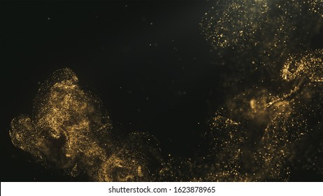 Golden Magical Dust Particles Background