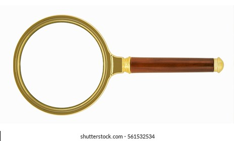 Golden magnifying glass - magnifying glass on a white background