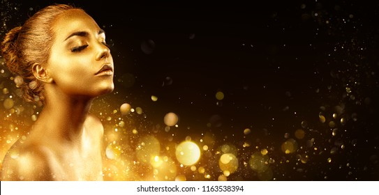 Golden Makeup - Fashion Portrait With Gold Skin And Glittering In Shiny Background