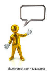 Golden man with a blank speech bubble on white background
