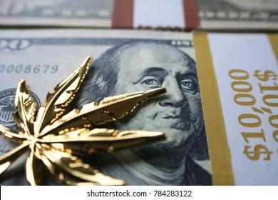 Golden Marijuana Leaf On Hundreds