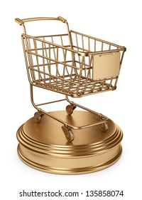 Golden Market cart. Best Sellers concept. 3D Isolated on white background