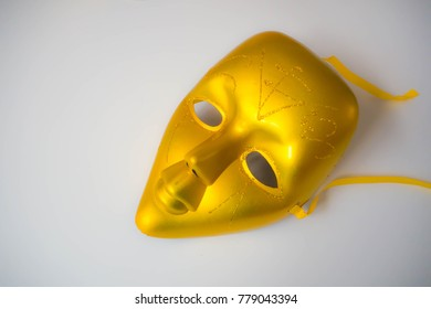 The Golden Mask with isolated background.
