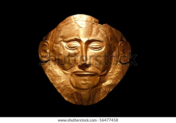 Golden mask put on face when heroes were buried in Ancient Greece
