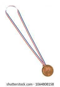 Golden medal is medal awarded isolated on white background.