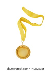 Golden medal with gold ribbon isolated on white