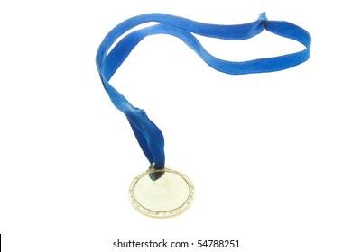 Golden medal isolate on white