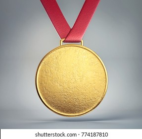 golden medal isolated on a grey  background. 3d illustration