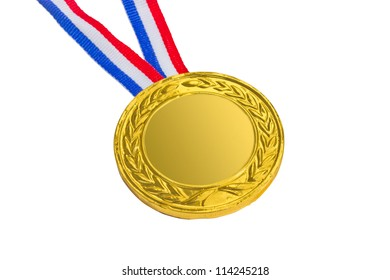 Golden medal isolated on white background.