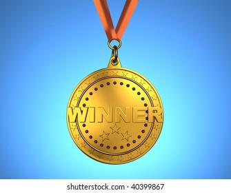 Golden medal with red ribbon on blue background - 3d render