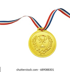 Golden medal with ribbon isolated on white background