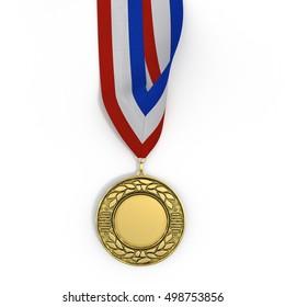 Golden medal with tricolor ribbon on white. 3D illustration