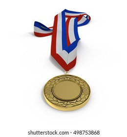 Golden medal with tricolor ribbon on white. 3D illustration