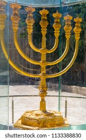 Golden Menorah in old city Jerusalem, near Synagogue Hurva