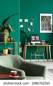 Golden metal chair and a modern home office with computer in the corner of a stylish living room interior with plants and green walls
