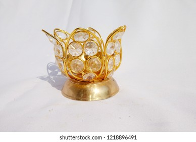 golden metal and crystal deepak or Diya worshipping lamp indian culture used to practice prayers for gods