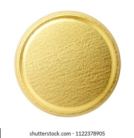 Golden metal lid of jar isolated on white. Top view.